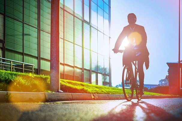 Cyclist commuting to work