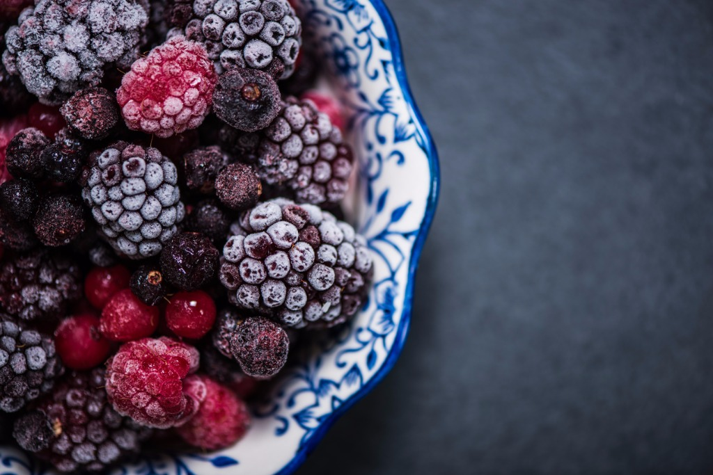 Bowl of frozen berries